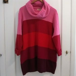 Stevie & Lindsay Pink & Red Striped Cowl Sweater